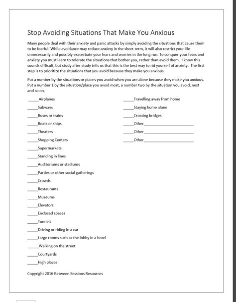 Anxiety Worksheet by Anxiety Worksheets In Deployday