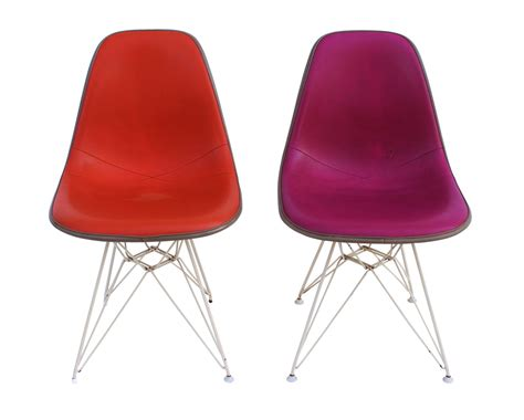 Magenta Chair by Orange And Magenta Eames Side Chairs W Eiffel Bases