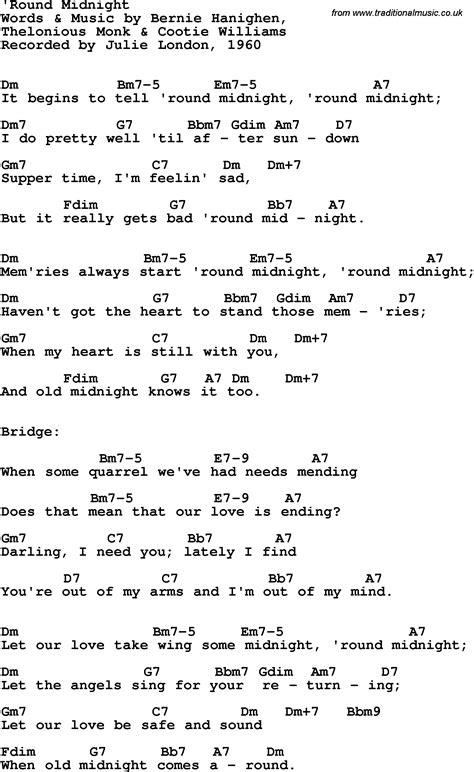 lyrics guitar chords song lyrics with guitar chords for midnight julie