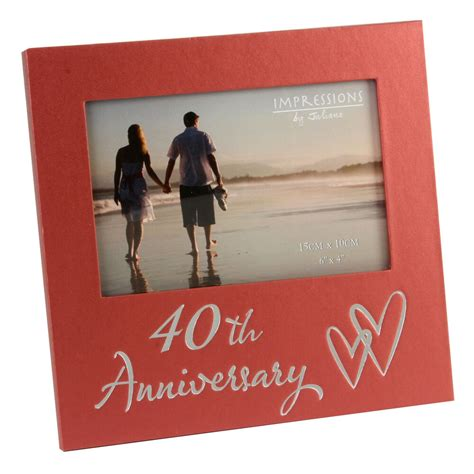 40th ruby wedding anniversary gifts wooden photo frame gift ideas fl29640 ebay