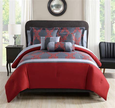 red and gray comforter 10 piece kayla red gray comforter set