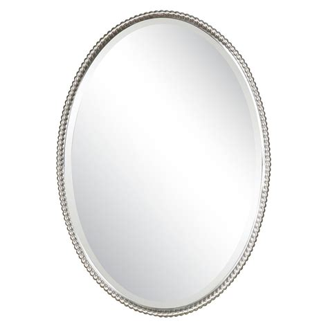 Discount Uttermost Mirrors Oval Mirror Uttermost Sherise Brushed Nickel Oval Mirror