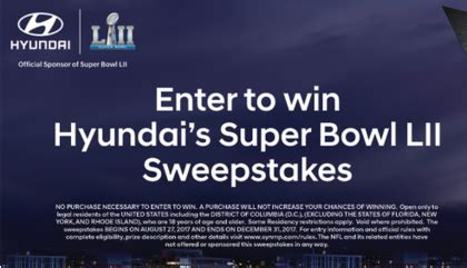 Football Hyundai Sweepstakes - hyundai super bowl lii sweepstakes sun sweeps