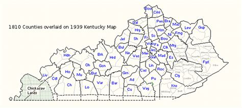 kentucky map 1800 1820 in kentucky