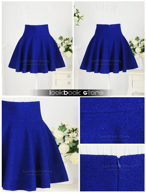 retro high waisted flippy flared concealed zip royal
