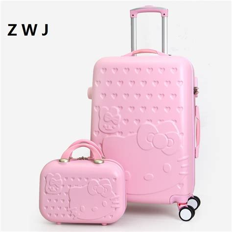 Luggage Bag Covers Hello 20 Inch 2pcs set lovely 20 24 28 inch with 14inch cosmetic bag hello luggage and