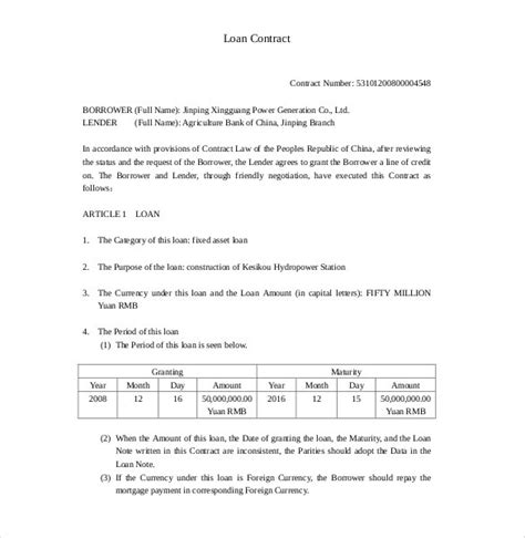 loan template loan contract template 26 exles in word pdf free