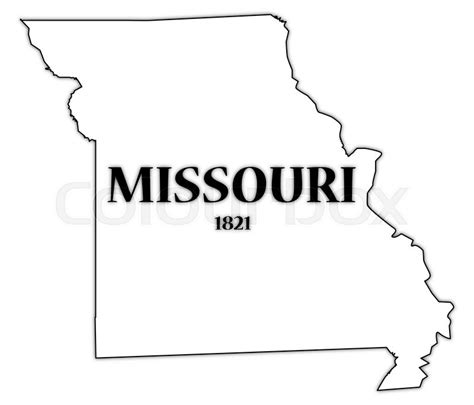 Missouri State Outline by A Missouri State Outline With The Date Of Statehood Isolated On A White Background Stock