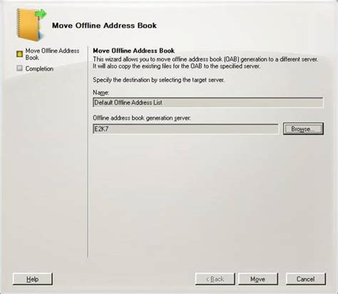 if necessary move the oab generation to another mailbox server networking removing the last exchange 2003 server from