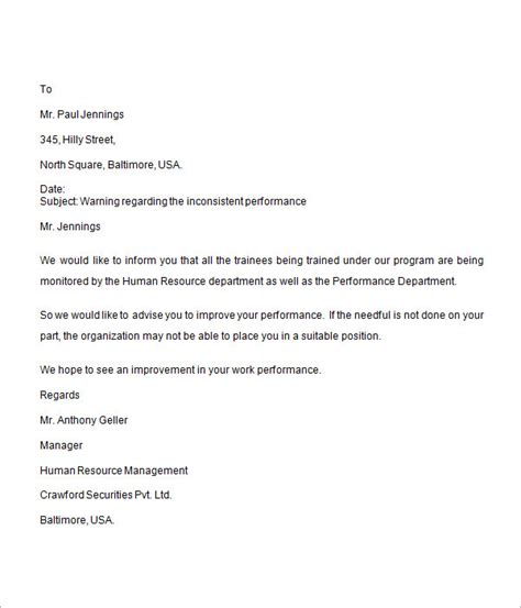 performance management letter template sle warning letter 8 free documents in word