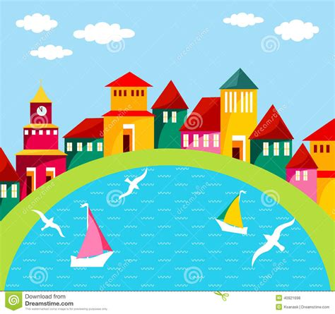 House Plans Waterfront by Seaside Town Stock Vector Image 40921698