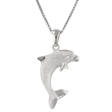 Dolphin Necklace precious silver dolphin pendant wr chance