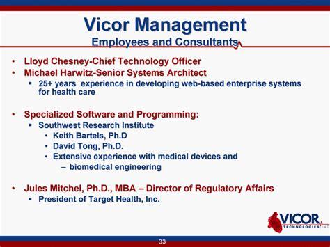 Mba Healthcare Management Unc by Vicor Technologies Inc Form 8 K Ex 99 1 April 9 2010