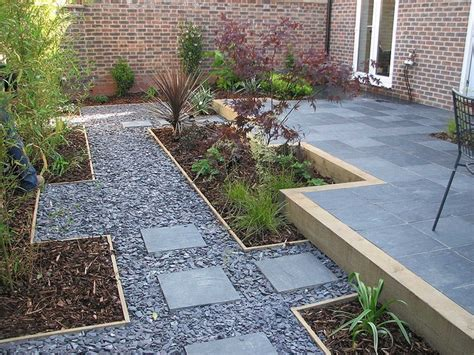 gravel garden path with stepping stones outdoor ideas