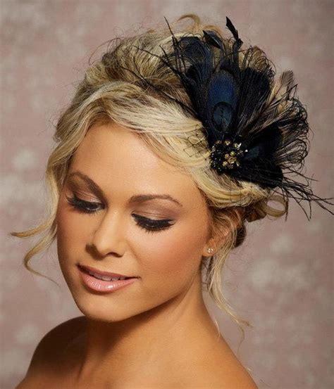 african hair stly feathers black peacock hair clip bridal head piece peacock feather