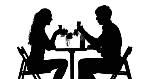 dinner silhouette romantic couple having dinner clinking glasses black