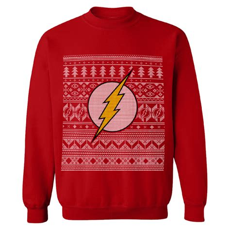 Hoodie Huk Redmerch dc comics s the flash fairisle sweatshirt merchandise zavvi