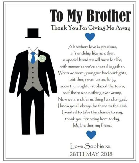 To My Brother On My Wedding Day Thank You by