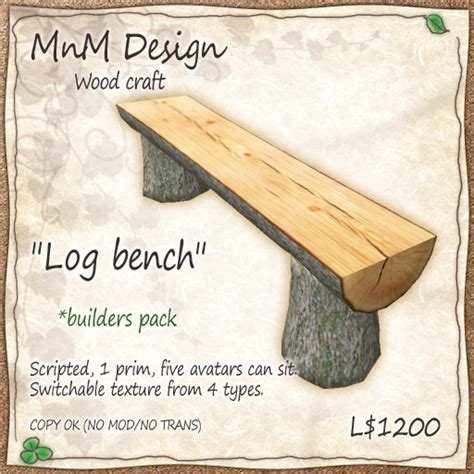 how to make a log bench second life marketplace mnm wood craft quot log bench quot for