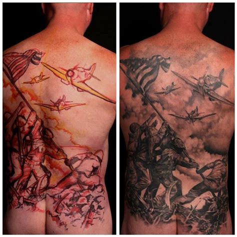 iwo jima tattoo iwo jima backpiece by gabriel tenneson tattoonow