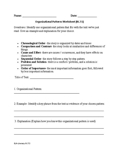 patterns of organization in reading practice patterns worksheets for 7th grade algebra patterns and