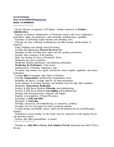 sql dba suresh resume