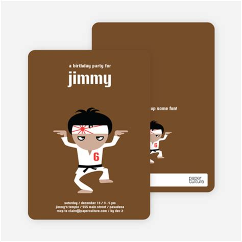 Funky Brown Khaki Second 100 Mulus wax on wax karate birthday invitations brown belt