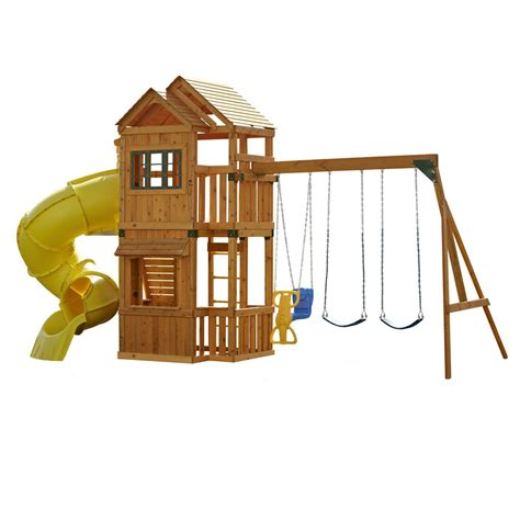 lowes wooden swing sets shop swing n slide lakewood ready to assemble residential