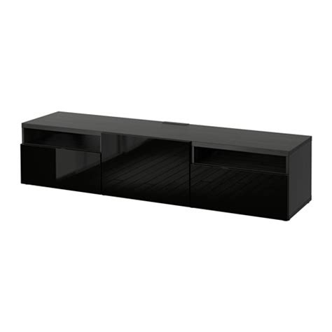best 197 tv bench black brown selsviken high gloss black