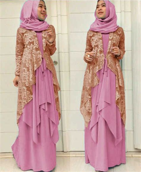 Model Gamis Cantik gamis brokat modern models pink and cardigans