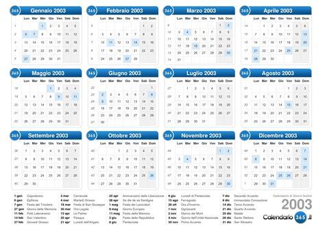 Calendario Agosto 2003 Calendario 2003