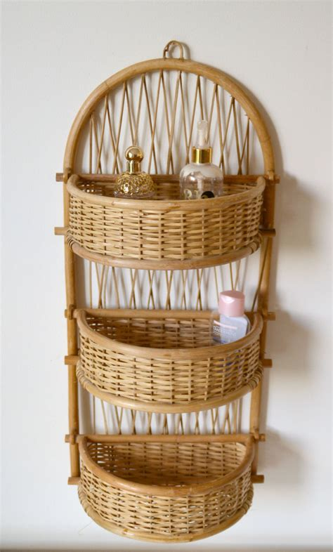 shelf rattan 3 baskets rattan