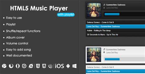 html5 player template html5 player with playlist html css