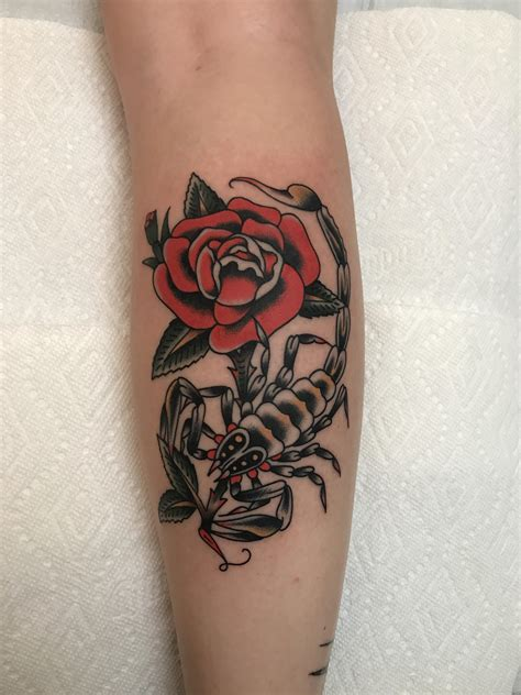 scorpion and rose tattoos scorpion and by nick oaks at bait schlang in