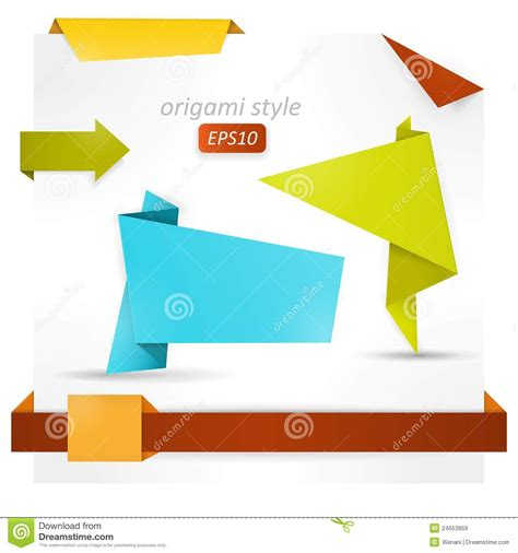 Origami Style - origami style speech banner paper shapes royalty free
