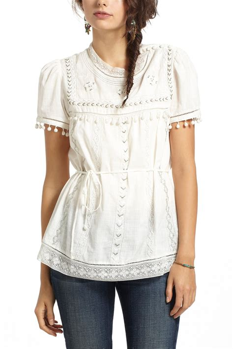 Blouse Peasant lyst anthropologie glinted peasant blouse in
