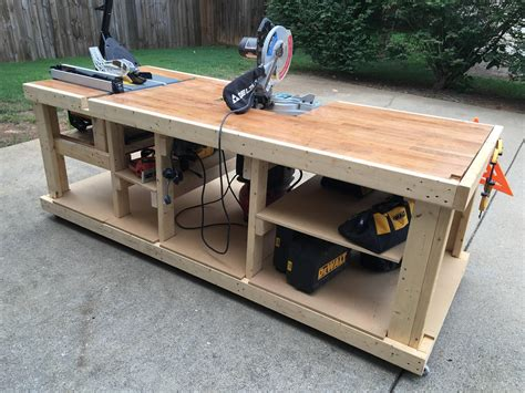 woodworking shop benches i built a mobile workbench imgur workbenches