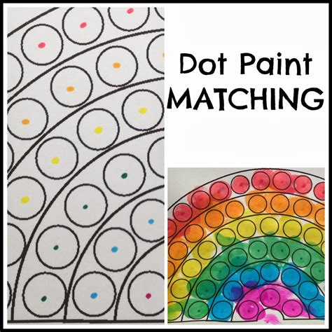 matching paint toddler dot paint activity rainbow theme preschool paint
