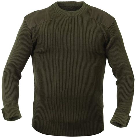 Sweater Inspired Olive Drab Wool Style Commando Sweater