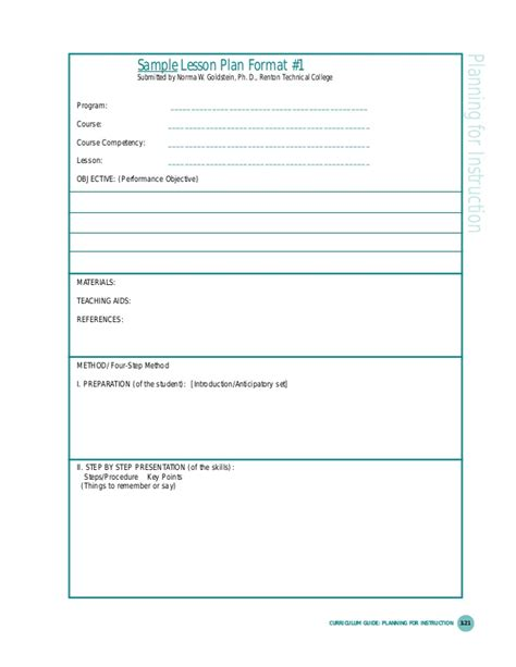 lesson plan template for college instructors lesson planning