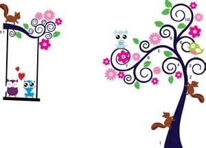 cartoon wall murals cartoon animal owl squirrel bird flower tree wall stickers