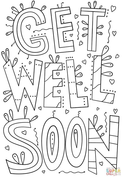 free printable coloring pages get well soon get well soon doodle coloring page free printable