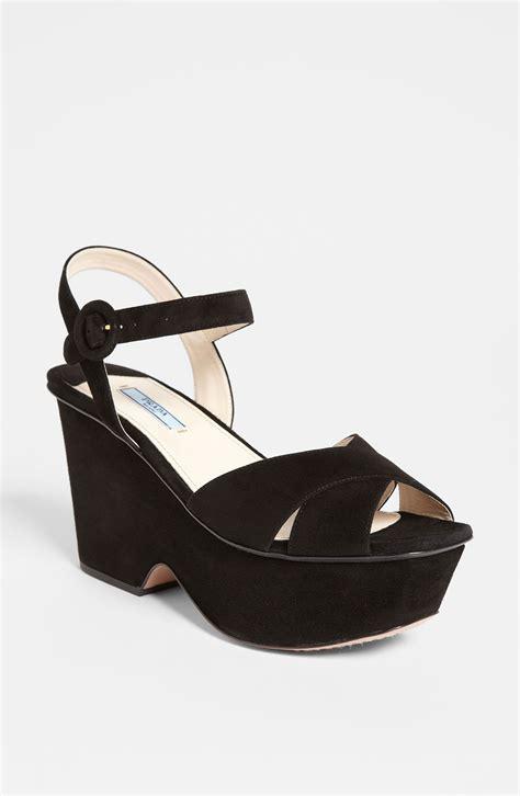 black prada sandals prada suede wedge sandal in black lyst