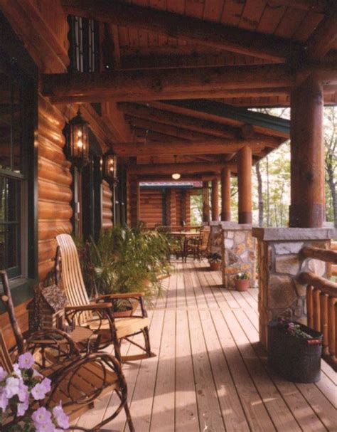 Log Cabin Porch | log homes perfect front porch home sweet home pinterest