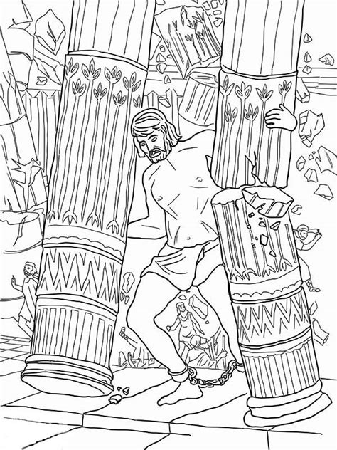 Samson Pillars Coloring Page by Samson Grasped Two Pillars Of The Temple Of Dagon Coloring