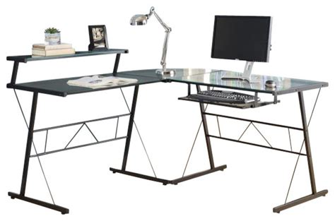 Metal Corner Computer Desk Computer Desk Black Metal Corner With Tempered Glass Contemporary Desks And Hutches By
