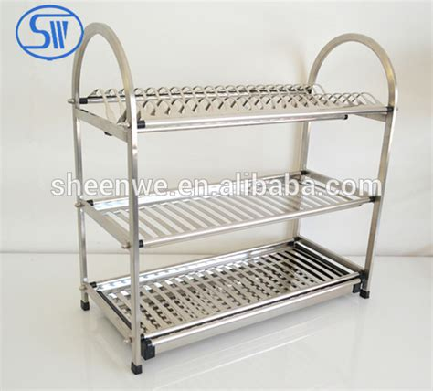 Rak Piring Stainless 2 Layer Dish Rack Stainless 2 Tingkat made in china 3 tier kitchen dish rack dish drainer dish