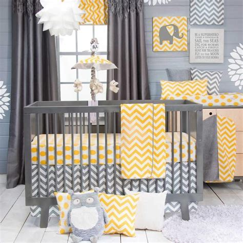 Chevron Modern Gray And Yellow Polka Dots Nursery Baby 3 Yellow And Gray Chevron Crib Bedding