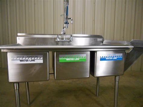 servsafe 3 compartment used 3 compartment stainless steel commercial