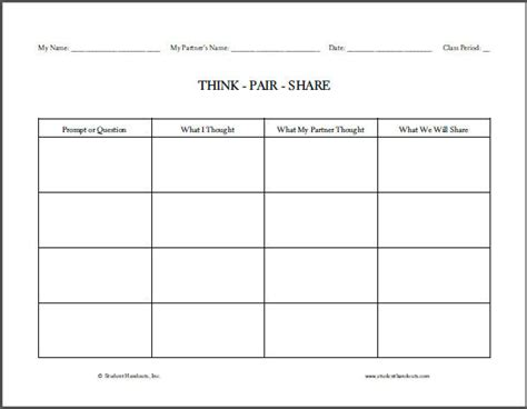 think pair share t chart worksheet student handouts